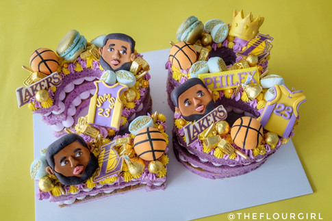 Lakers themed multiple number monogram cake