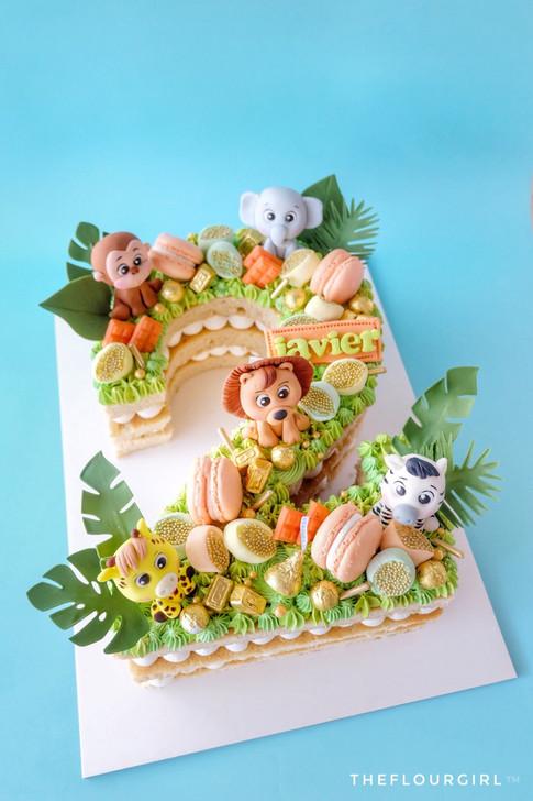 Baby Zoofari themed Single Number Monogram Cake