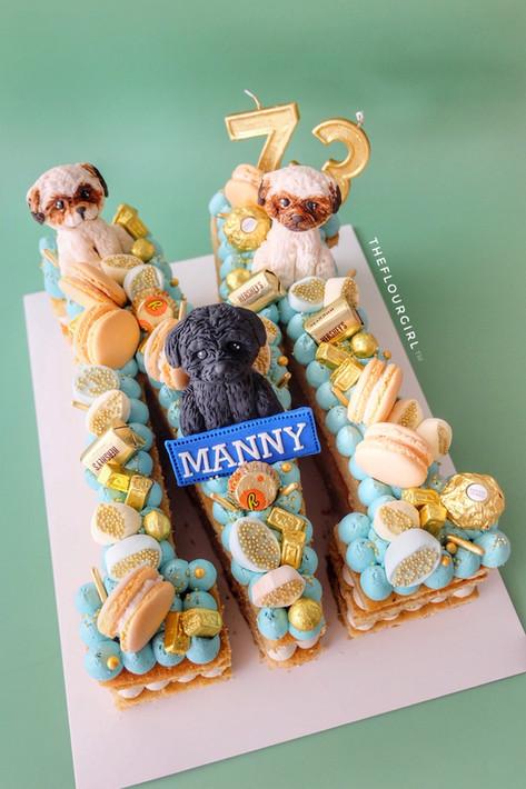 Shihtzu themed single letter monogram cake