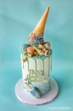 Decorated Upside Down Ice Cream cake