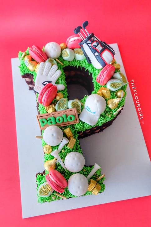 Golf themed Single Letter Monogram Cake