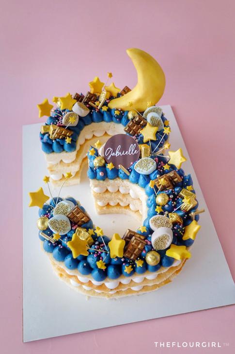 Twinkle twinkle little star themed single number cake