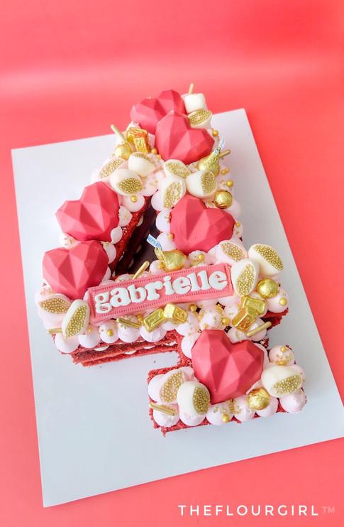 HEARTS THEMED SINGLE NUMBER MONOGRAM CAKE