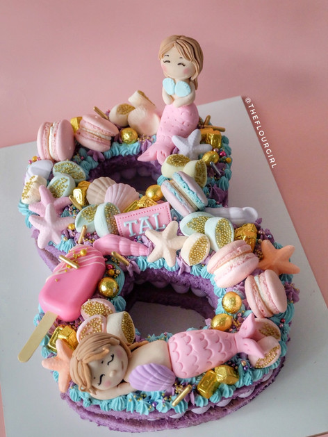 Mermaid themed single number monogram cake