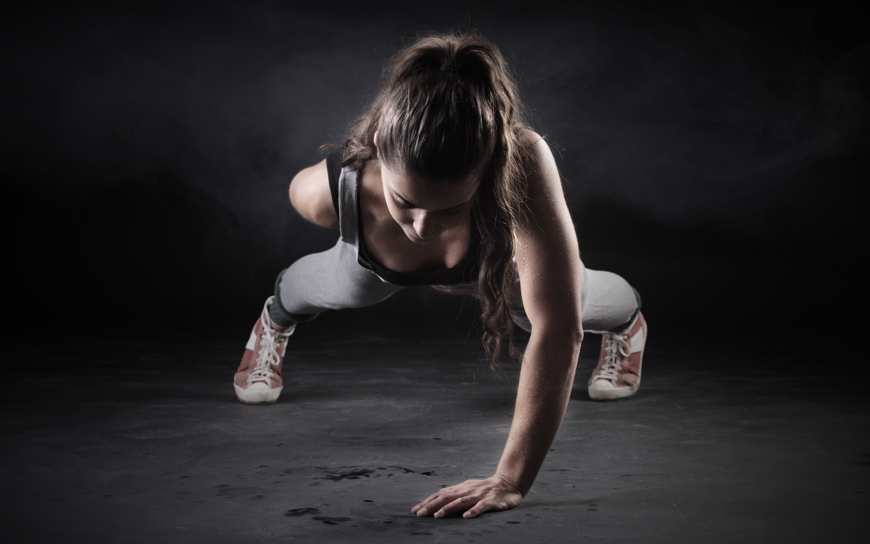 fitness-girl-one-hand-push-up-wide