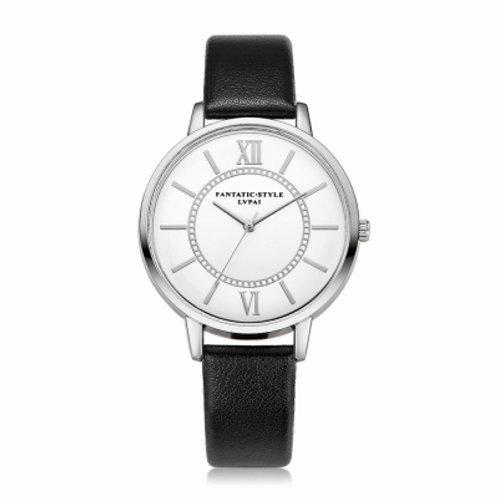 Women Fashion Silver Tone Bezel Leather Band Watch