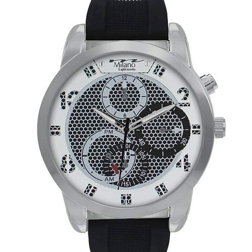 Men's Milano Expressions Black Rubber Strap Watch