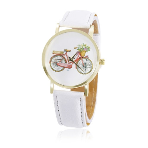 Bicycle Pattern Dial Leather Band Watch