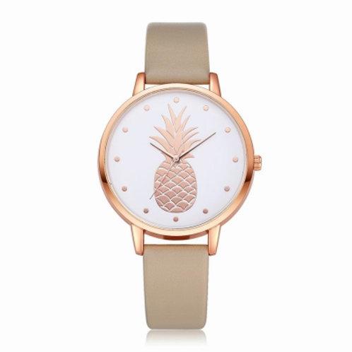 Pineapple Dial Leather Band Quartz Wrist Watch