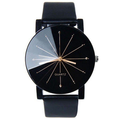 Ladies Black Sun Rays Watch
