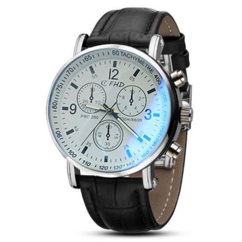 Faux Leather Blue Ray Glass Quartz Analog Watch