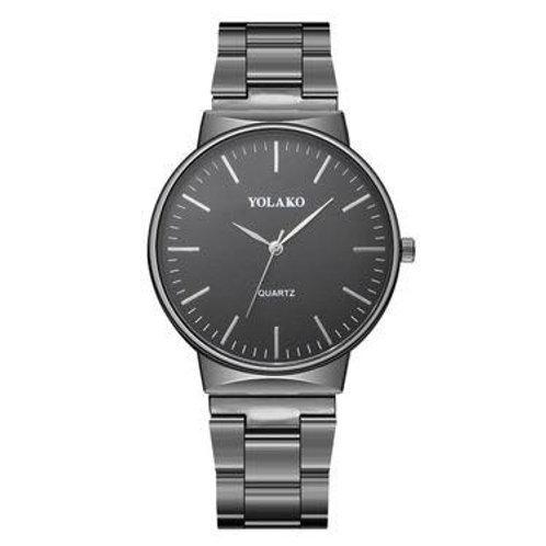 Large Dial Men's Steel Strap Watch