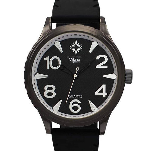 Men's Milano Expressions Black Vegan Leather Strap Watch