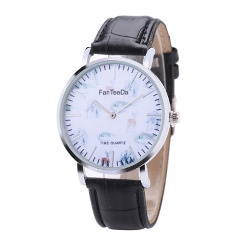 Men's Animal Dial Leather Wrist Watch