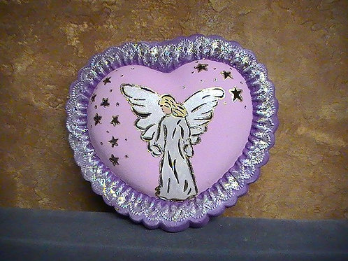 Angel on a heart shaped lamp painted