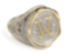 A-Z Personalised Seal and Filigree Scrolled Ring Two Sizes