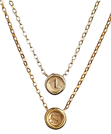 A-Z and 1-9 Personalised Mini Wax Seal Necklace with DIamonds