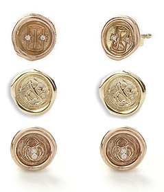 Hourglass, Lock of Love and Ampersand Mini Wax Seal Studs with Diamonds