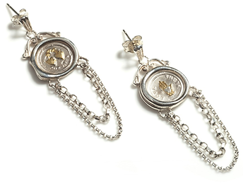 19th c Mini Seal Chain Earrings