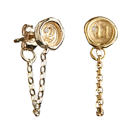 A-Z and 1-9 personalised mini wax seal chain earrings with diamonds