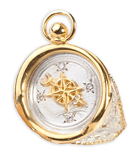 Compass Ring with Diamonds