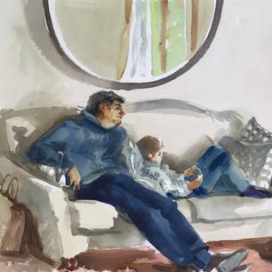 На диване с папой