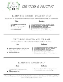 Price Sheet- Bartending Packages