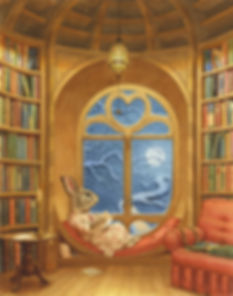 Paisley Rabbit writes thank you cards while reclining in her new library. Paisley Rabbit and the Treehouse Contest - written by Steve Richardson, illustrated by Chris Dunn.