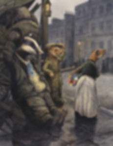 Good Evening M'Lady by Chris Dunn Illustration. A Badger and a weasel greet a weasel flower seller.