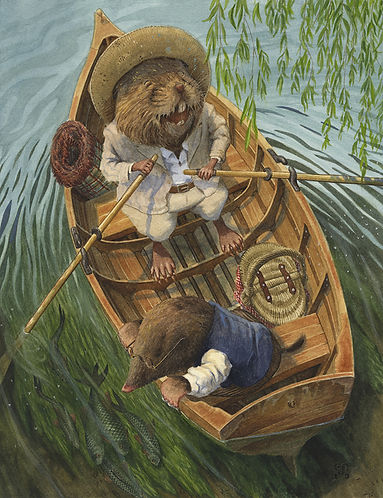 Messing About by Chris Dunn Illustration. Ratty and Mole row a boat on the river.