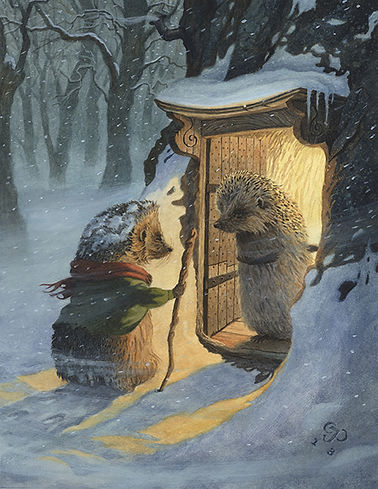 A Winter Guest by Chris Dun Illustration. Two hedgehogs greet each other in the snowy wood.