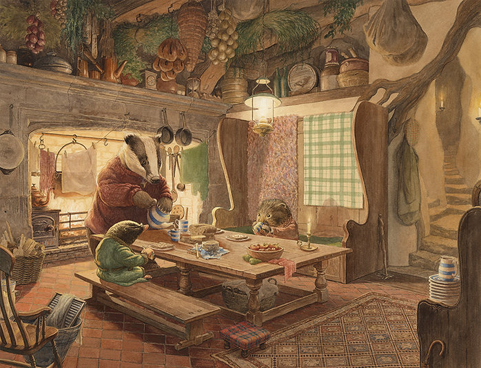 Inside Mr Badger's cosy kitchen, Mole and Ratty are treated to a nice warming supper.  Illustration by Chris Dunn for 'The Wind In The Willows'. Whimsical animal art.