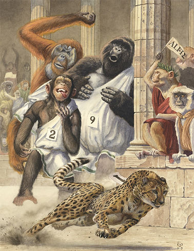 'Cheetah Chase' by Chris Dunn Illustration. Apes chase a cheetah in the Ancient Greek games. Whimsical animal art.
