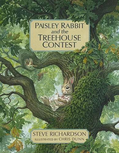 Watercolour illustration of Paisley rabbit and friends in the school field, organising a treehouse contest. Paisley Rabbit and the Treehouse Contest - written by Steve Richardson, illustrated by Chris Dunn. Rabbit, Ringtail Cat, Shrew, Skunk, Fox, Otter, Squirrel, Owl.