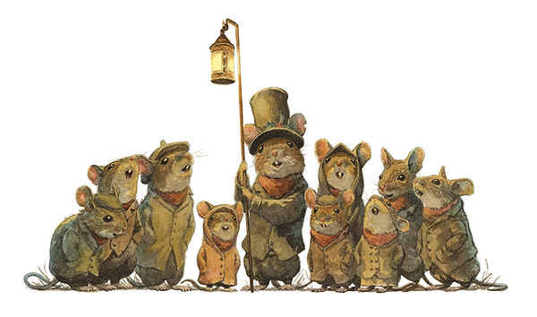 A group of Christmas carol singing mice. Illustration by Chris Dunn for 'The Wind In The Willows'. Whimsical animal art.