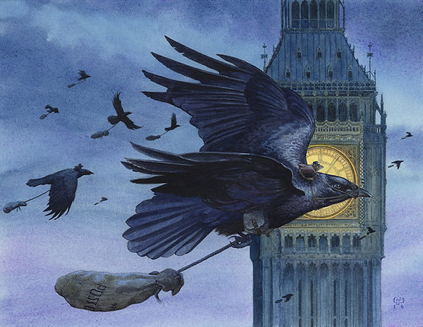 Air Mail b Chris Dunn Illustration. A post-mouse flies on the back of a crow to deliver his mail.