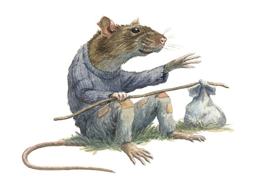 A seafaring rat sits for a while and tells grand stories of his life on the sea. Illustration by Chris Dunn for 'The Wind In The Willows'. Whimsical animal art.