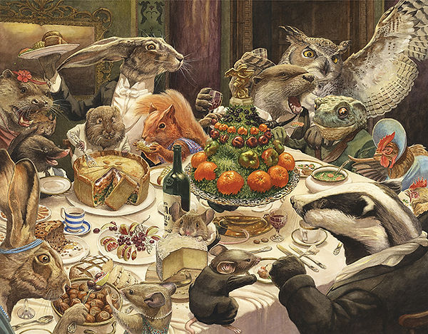 Badger, Ratty, Mole, Toad, Otter and friends celebrate the return of Toad to his rightful place at Toad Hall. Illustration by Chris Dunn for 'The Wind In The Willows'. Whimsical animal art.