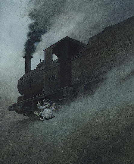 Toad in disguise, jumps from a moving steam train in his bid for freedom. Illustration by Chris Dunn for 'The Wind In The Willows'. Whimsical animal art.
