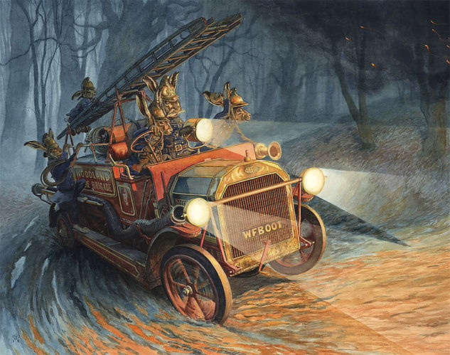 Fire Brigade Emergency by Chris Dunn Illustration. Hares drive a fire engine through the woods.