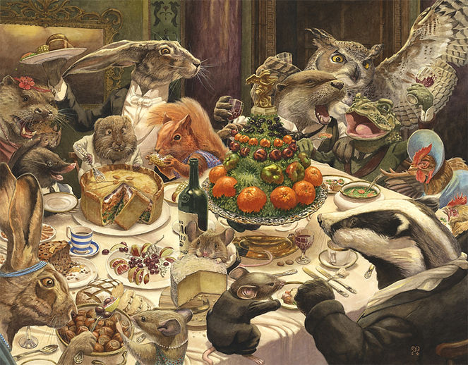Feast by Chris Dunn Illustration. Animas have a dinner party.