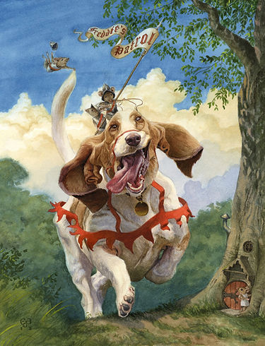 'Freddie's Patrol' by Chris Dunn Illustration. Armoured mice patrol the kingdom on their trusty basset hound steed. Whimsical animal art.