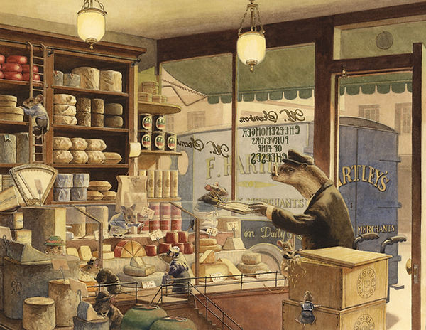Cheese Delivery by Chris Dunn Illustration. An otter delivers to a cheese shop owned by mice