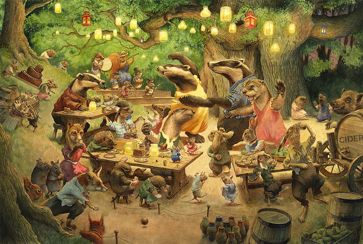Woodland Party by Chris Dunn. Badger, otter, hare, rabbit, fox, mouse, rat, stoat, weasel, mole, hedgehog and squirrel have a party.