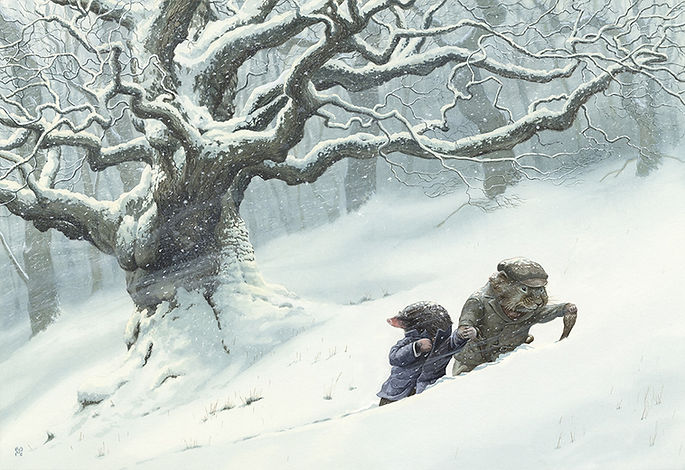 Ratty and mole push through the snow in the Wild Wood. Illustration by Chris Dunn for 'The Wind In The Willows'. Whimsical animal art.