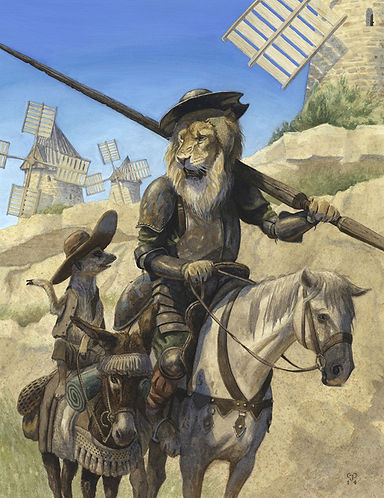 Retreat From The Windmills by Chris Dunn Illustration. Don Quixote lion and Sancho Panza meerkat.
