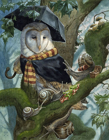 'Lovely Day For It' by Chris Dunn Illustration. It's a lovely wet day for the snails to have a picnic but, a passing barn owl couldn't disagree more. Whimsical animal art.