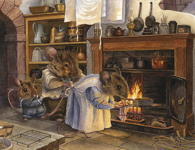 Masterchef by Chris Dunn Illustration. Mouse family bake a fruit cake on the stove.