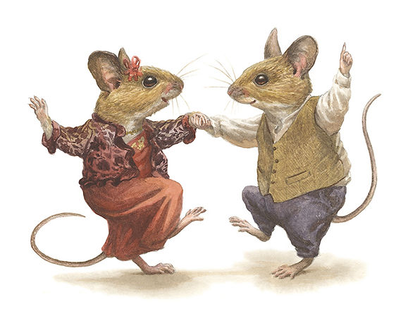 'Just Married' by Chris Dunn Illustration. Two mice enjoy their first dance together as a married couple. Whimsical animal art.