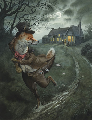 Quick Getaway by Chris Dunn Illustration. Fox runs away from a pub card game, along a moonlit country track.